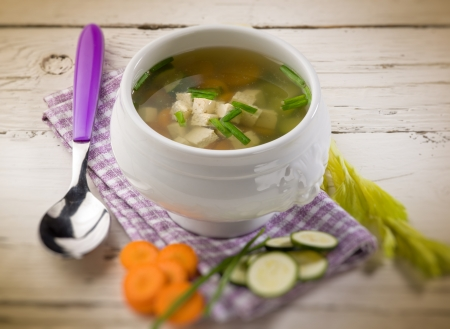 alga: soupe with tofu and vegetables,  selective focus