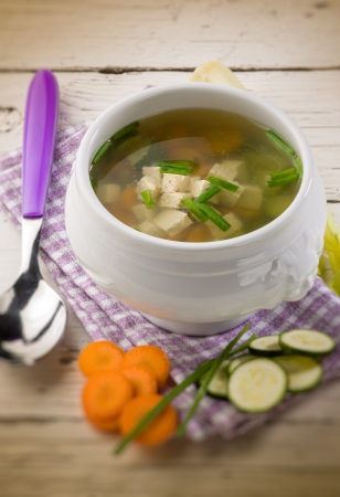 dashi: soupe with tofu and vegetables,  selective focus