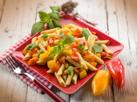 vegs: pasta with capsicum and basil, selective focus