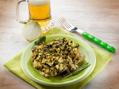 sauteed: chicken with sauteed zucchinis