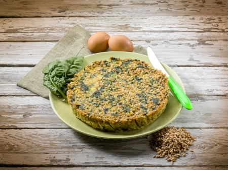 pie with spelt and spinach photo