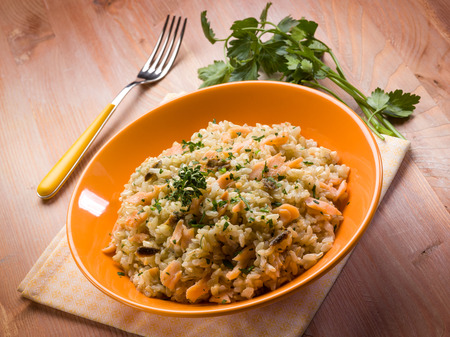 risotto with smoked salmon photo