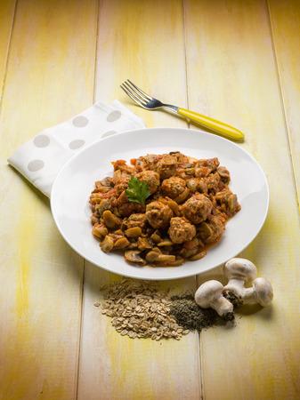sauteed: meatballs with sauteed mushroom Stock Photo