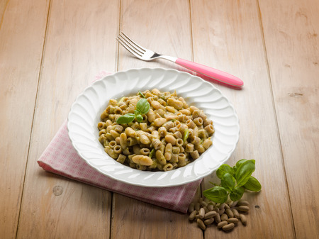 pasta with pesto and beans photo