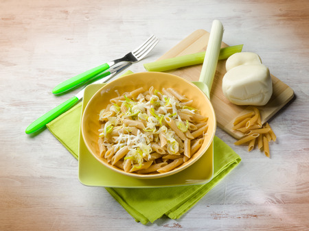 scamorza cheese: pasta with leek and scamorza cheese
