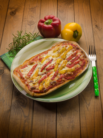 homemade pizza with  grilled pepper photo