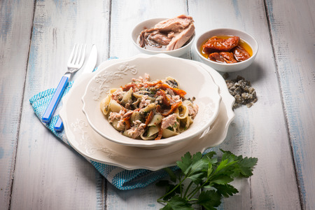 sicily: pasta with tuna dried tomatoes and capers