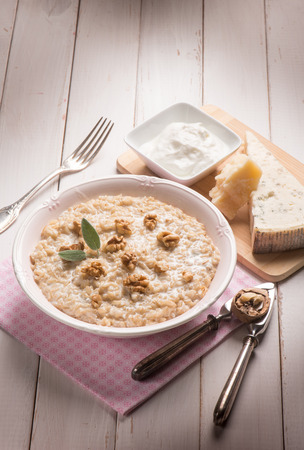 risotto: risotto with gongorzola nuts and cream sauce