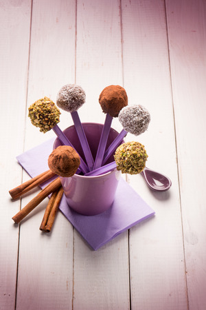 praline: mixed chocolate praline with coconut pistachio and cinnamon Stock Photo