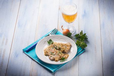 shallot: escalope with shallot and beer