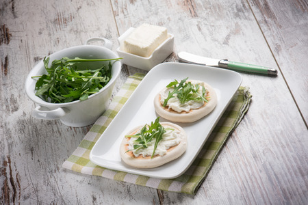 stracchino: tigelle with stracchino and arugula