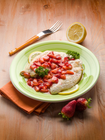 italian cusine: escalope with strawberries Stock Photo
