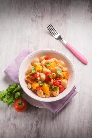 capsicum: pasta with capsicum and basil Stock Photo