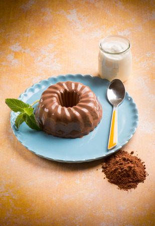 cacao: bavarese cacao, traditional dessert Stock Photo