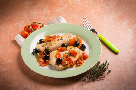 thymus: escalope with tomatoes olives and thymus
