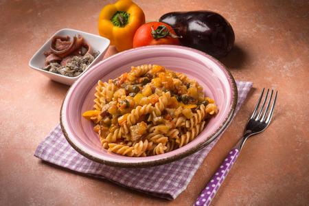 capsicum: pasta with eggplant capers anchovies and capsicum