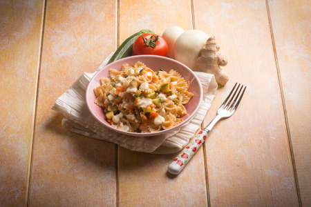 scamorza cheese: pasta with tomatoes zucchinis and scamorza cheese
