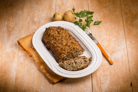 meatloaf: meatloaf with potatoes and parsley