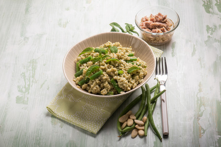 greenbeans: cold rice salad with tuna greenbeans almond and mint Stock Photo