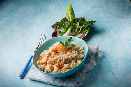petoncle: risotto aux pétoncles Banque d'images
