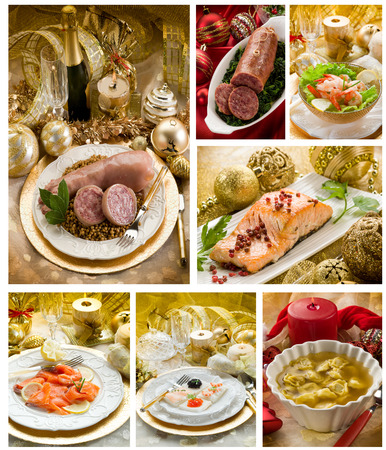 italy food: collage of mixed traditional christmas italian food