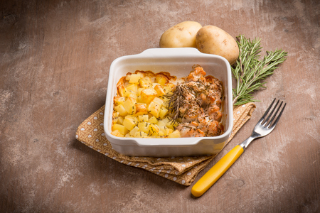 food dish: chicken and potatoes Stock Photo