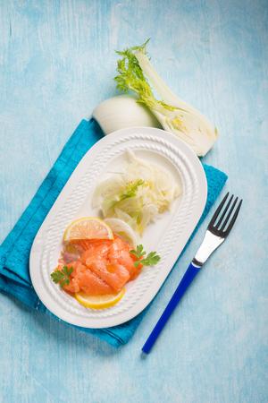 finocchio: salmon carpaccio with sliced fennel salad