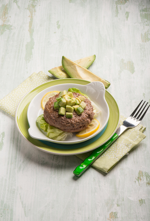 charbroiled: healthy hamburger with avocado and lettuce salad