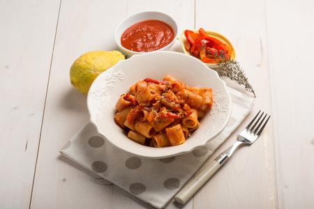 thymus: pasta with capsicum thymus and grated lemon peel Stock Photo