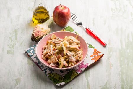 chicken salad: chicken salad with sliced apple and artichoke