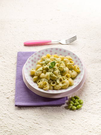 broad: pasta with fava beans broad Stock Photo