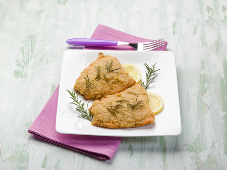 breaded: breaded fish fillet Stock Photo