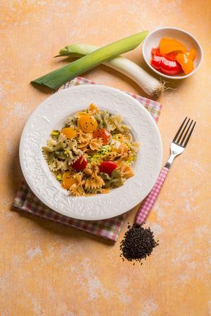 pasta with capsicum leek ans black sesame seed
