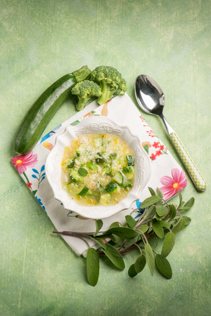 couscous: soup with couscous zucchinis and broccoli