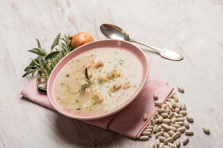 white rice: soup with rice and beans Stock Photo