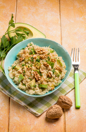 green bean: quinoa with avocado and nuts