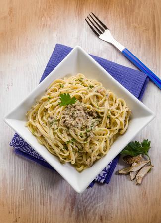 cep mushroom: pasta with cep edible mushroom and anchovies