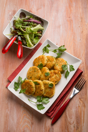 prepared: vegetarian meatballs prepared with potatoes and lentils Stock Photo
