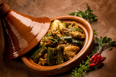 tajine with meat vegetables and spice Foto de archivo