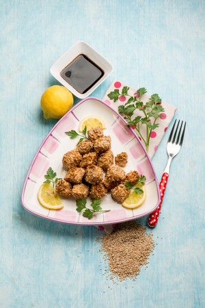 swordfish: swordfish croquettes with sesame seeds and soy sauce