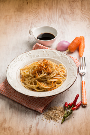 sesame seed: spaghetti with carrot soy sauce and sesame seed