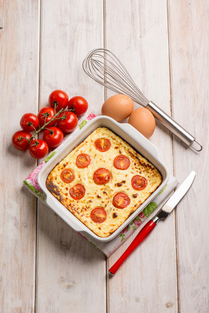 ricotta cheese: cake with ricotta cheese and tomatoes