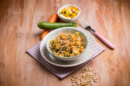 pine nuts: rice with mixed vegetables and pine nuts