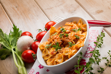 pasta with fish ragout and fresh oregano