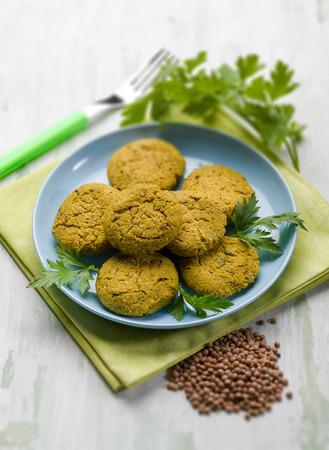 selective focus: lentils croquette, selective focus