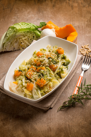 savoy:  sauteed vegetables with  pumpkins  savoy cabbage and pine nuts