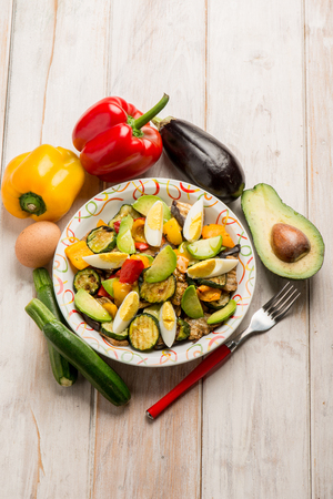 grilled vegetables: grilled vegetables salad with avocado Stock Photo