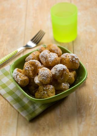 bignole typical italian carnival dessert, selective focus