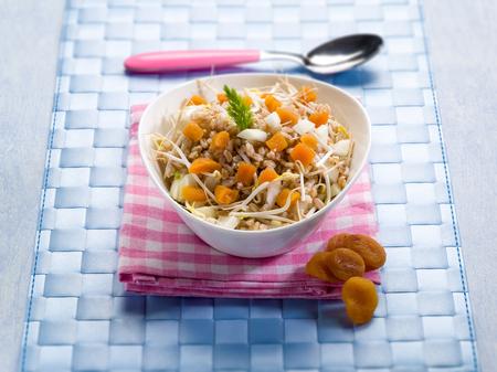 salade met spelt gedroogde abrikoos sojascheuten en rauwe venkel, selectieve aandacht