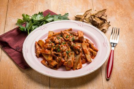 seitan stew with dried mushroom and tomatoes sauce